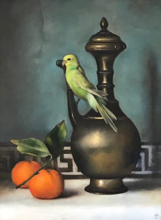 Still Life with Green Parakeet