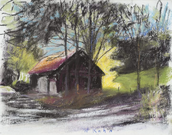 Black Barn and Yellow Tree