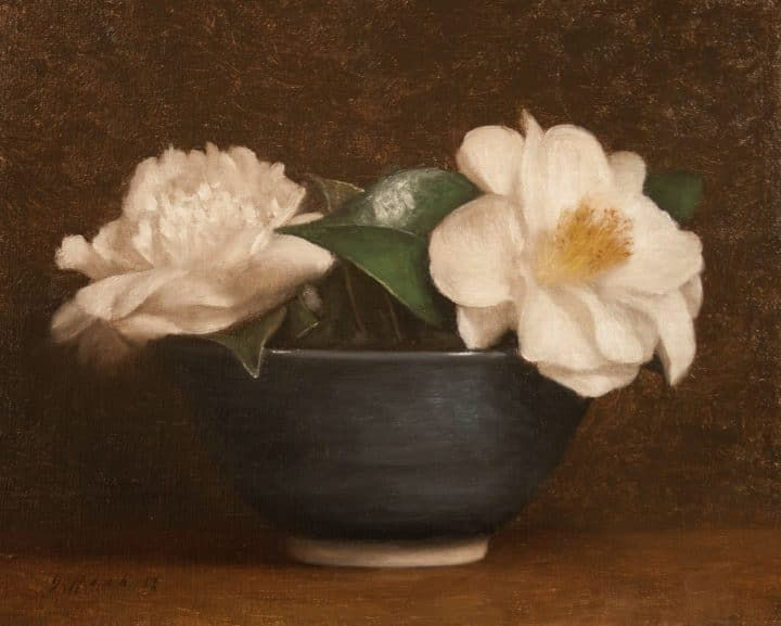 Camellias with Blue Bowl