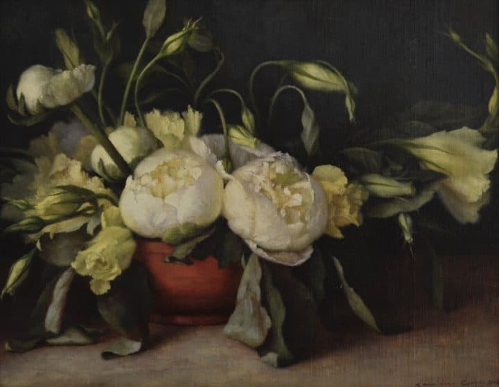 Peonies and Lysianthus