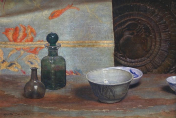 Still Life with Asian Bowls & Antique Glass