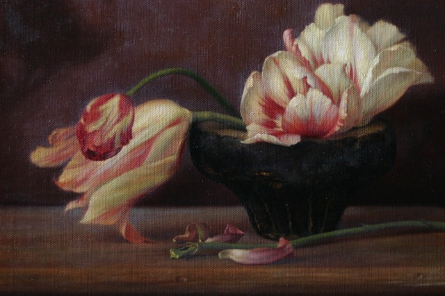 Tulips in a Stone Bowl