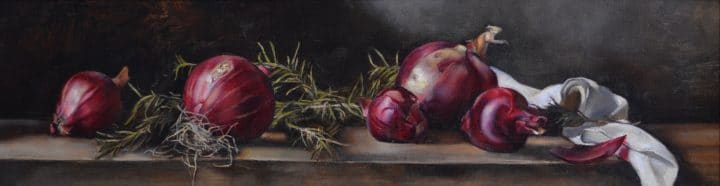 Still Life of Red Onions and Rosemary - 2001