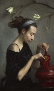 Woman with Japanese Rice Pot