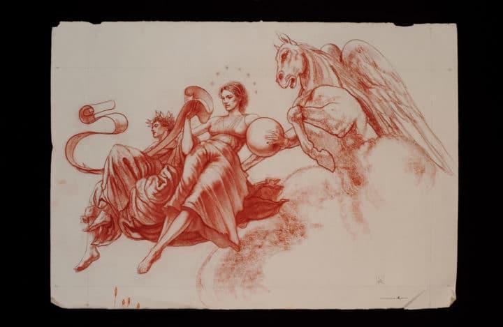 Clio, Urania, and Pegasus (cartoon for Morgantown fresco)