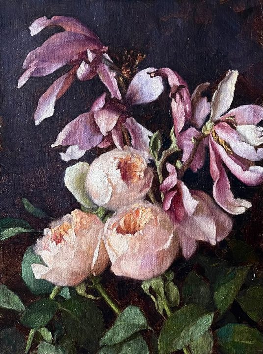 Magnolia Blossoms and Juliet Roses