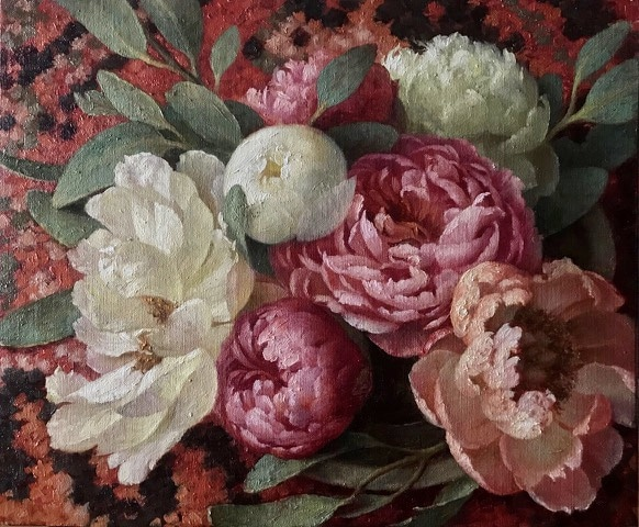 Peonies and Eucalyptus on a Moroccan Rug