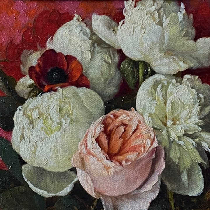 Peonies and Juliet Rose