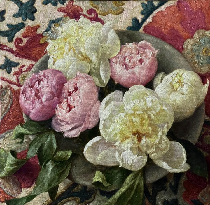 Peonies in a Stone Bowl