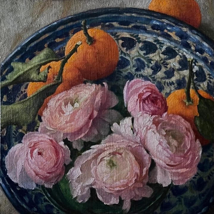 Ranunculus and Mandarins in a Spanish Bowl