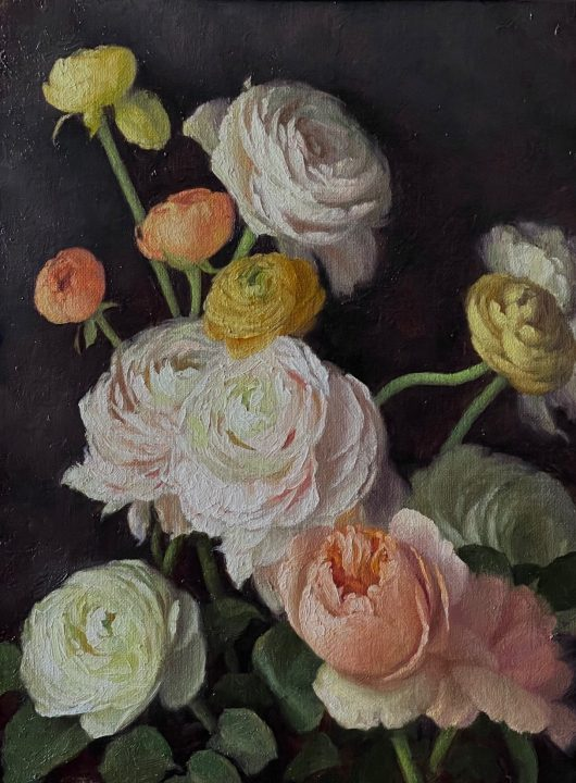 Ranunculus and Juliet Roses
