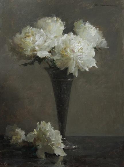 White Peonies in Silver Vase
