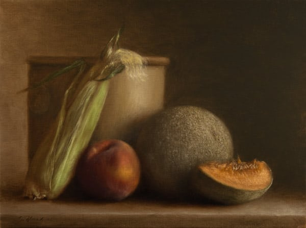 Corn, Peach, Melon, Ceramic Jar