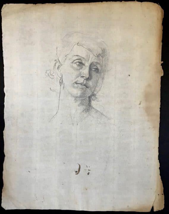Female Portrait on Antique Paper