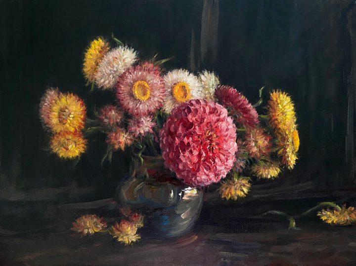 Zinnia and Strawflowers