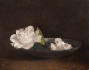 Camellias with Blue Gray Bowl